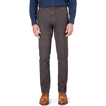 BOGLIOLI Herringbone garment-dyed trousers (Grey