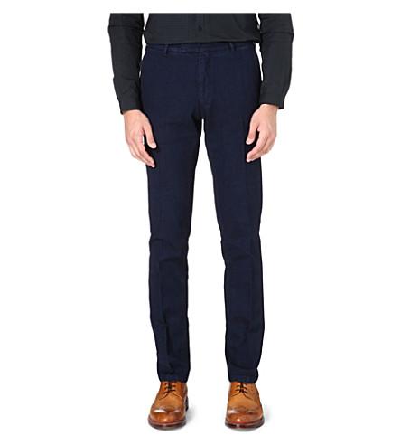 BOGLIOLI Herringbone garment-dyed trousers (Indigo