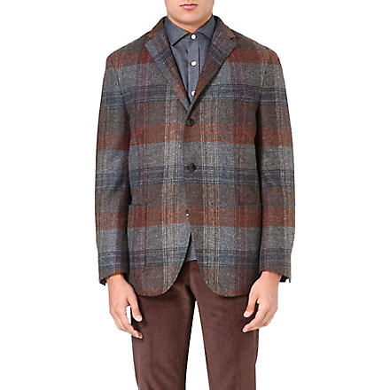 BOGLIOLI Checked wool-blend jacket (Mid gry/rst