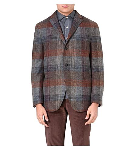 BOGLIOLI Checked wool-blend jacket (Mid gry/rst