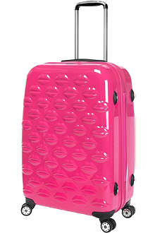 LULU GUINNESS Lips four-wheel suitcase 55cm
