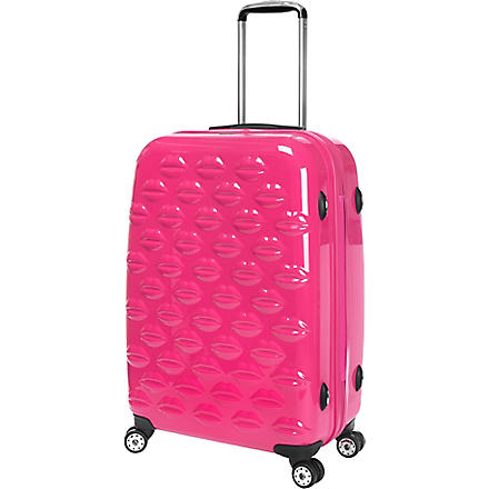 LULU GUINNESS Lips four-wheel suitcase 55cm (Pink