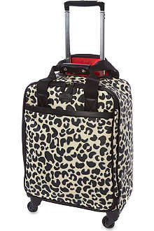 LULU GUINNESS Leopard four-wheel cabin trolley