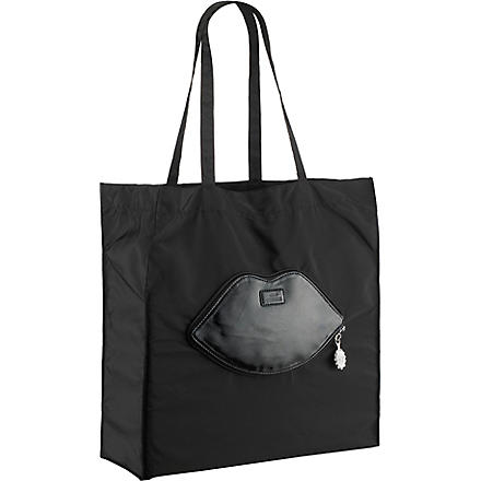 LULU GUINNESS Foldaway lips shopper (Black
