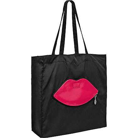 Foldaway lips shopper (Black/pink