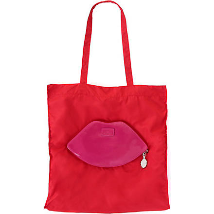 Foldaway lips shopper (Red/fuchsia