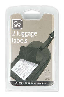 DESIGN GO Two leather luggage labels