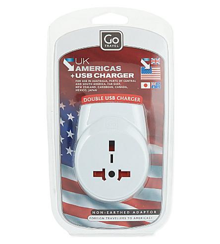 GO TRAVEL UK USB charger and adaptor (White