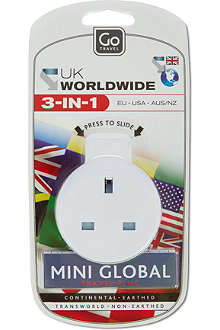DESIGN GO 3-in-1 Worldwide travel plug adapter