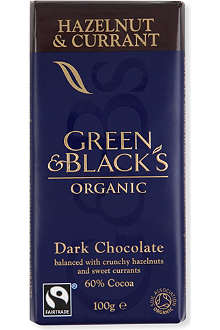 GREEN & BLACKS Organic hazelnut & currant chocolate bar 100g