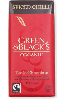 GREEN & BLACKS Spiced chilli organic dark chocolate bar 100g