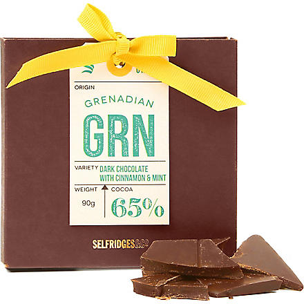 SELFRIDGES SELECTION Single Origin Grenadan Dark chocolate with cinnamon & mint 90g