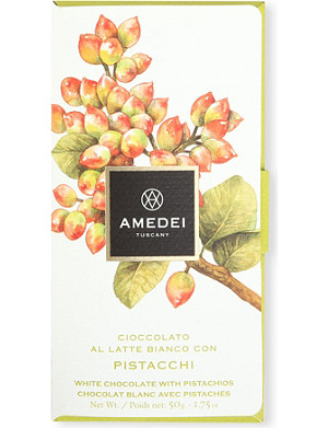 AMEDEI White chocolate bar with pistachios 50g