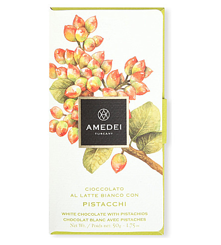 AMEDEI 带开心果的白色巧克力棒50g