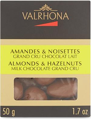 VALRHONA Milk chocolate Grand Cru almonds & hazelnuts 50g