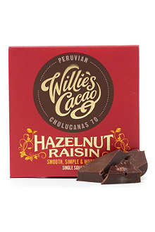WILLIE'S CACAO Peruvian 70 hazelnut and raisin dark chocolate bar 50g