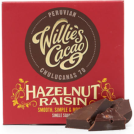 WILLIES Peruvian 70 hazelnut and raisin dark chocolate bar 50g