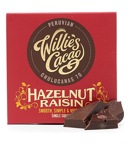 WILLIES Peruvian 70 hazelnut and raisin dark chocolate bar 50g