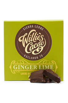 WILLIE'S CACAO Sierra Leone 70 ginger and lime dark chocolate bar 50g
