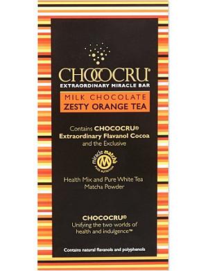 CHOCOCRU Milk chocolate zesty orange tea bar 75g