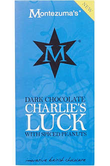 MONTEZUMAS Dark chocolate Charlie's luck with spiced peanuts 100g