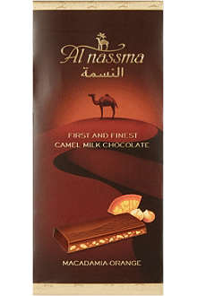 AL NASSMA Camel milk chocolate with macadamia nut & orange zest  70g