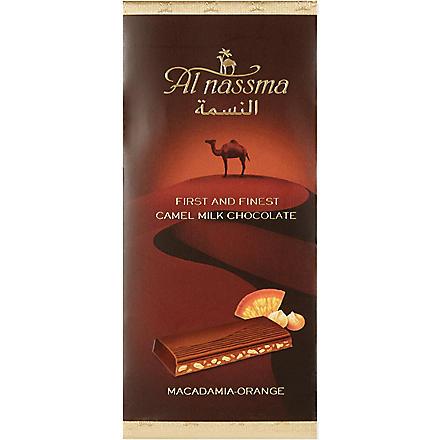AL NASSMA Camel milk chocolate with macadamia nut & orange zest  70g