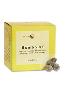 Effervescent lemon and dark chocolate bombolas 80g