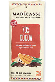 MADECASSE 70% cocoa dark chocolate bar 75g