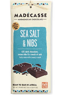 MADECASSE Sea Salt & Nibs dark chocolate bar 75g
