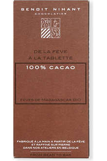 BENOIT NIHANT Organic 100% cocoa dark chocolate bar