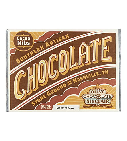 OLIVE & SINCLAIR Cacao nibs artisan chocolate 80g