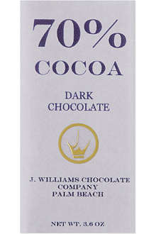 J WILLIAMS 70% dark chocolate bar 100g