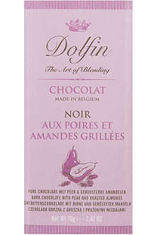 DOLFIN Dark chocolate bar with pear and roasted almonds 70g