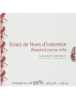 LAURENT GERBAUD Roasted cocoa nibs dark chocolate 50g