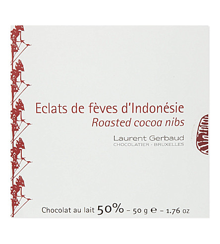 LAURENT GERBAUD Roasted cocoa nibs dark chocolate 50g