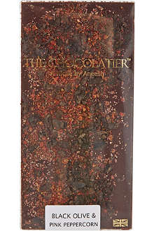 THE CHOCOLATIER Black Olive & Pink Peppercorn dark chocolate bar 100g