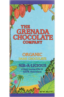 GRENADA CHOCOLATE Nib-a-licious organic dark chocolate bar 85g
