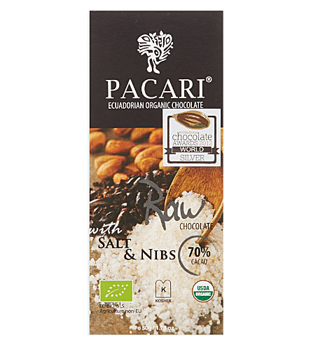 PACARI Organic raw chocolate with salt covered nibs 50g