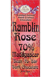 LILLIE BELLE Ramblin' rose dark chocolate bar 70g