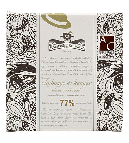 ROZSAVOLGYI Dark chocolate with olives and bread 70g
