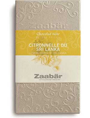 ZAABAR Lemongrass of Sri Lanka Duo dark chocolate bar 70g