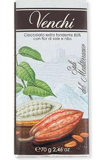 VENCHI Fior de Sale dark chocolate with nibs bar 70g