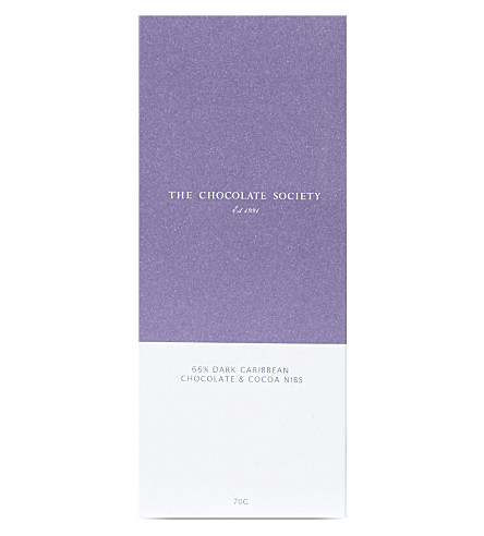 THE CHOCOLATE SOCIETY Dark chocolate & cocoa nibs bar