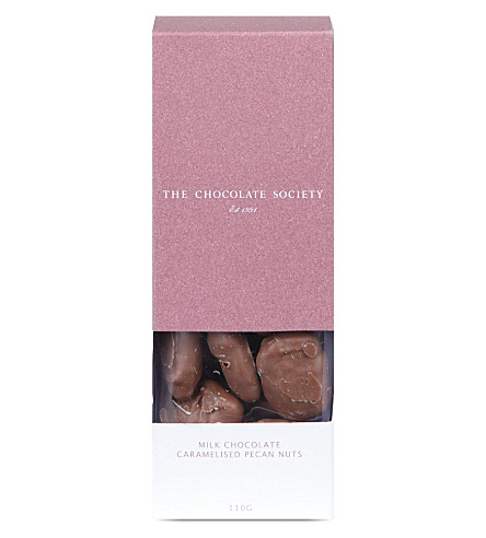 THE CHOCOLATE SOCIETY Milk chocolate caramelised pecan nuts
