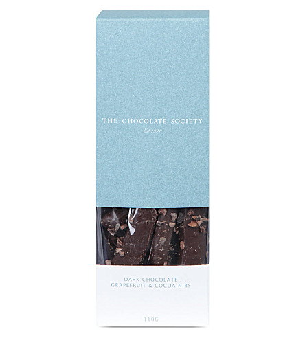 THE CHOCOLATE SOCIETY Dark chocolate grapefuit and cocoa nibs