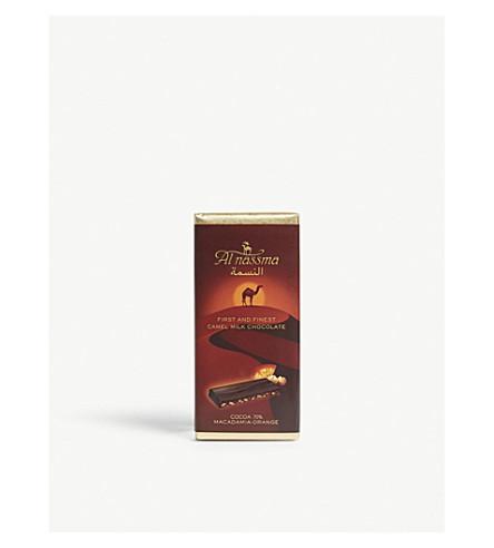 AL NASSMA Cocoa 70% camel milk chocolate macadamia-orange bar 70g