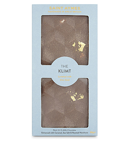 SAINT AYMES The Klimt salted caramel & roasted hazelnut 23ct gold milk chocolate