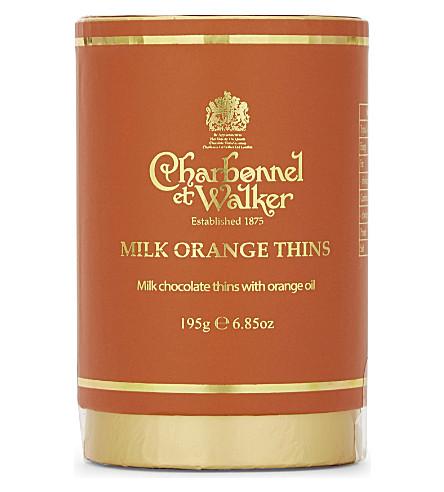 CHARBONNEL ET WALKER Milk chocolate orange thins 195g