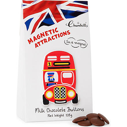 CHURCHILL'S Chocolate buttons and London bus magnet gift bag 135g